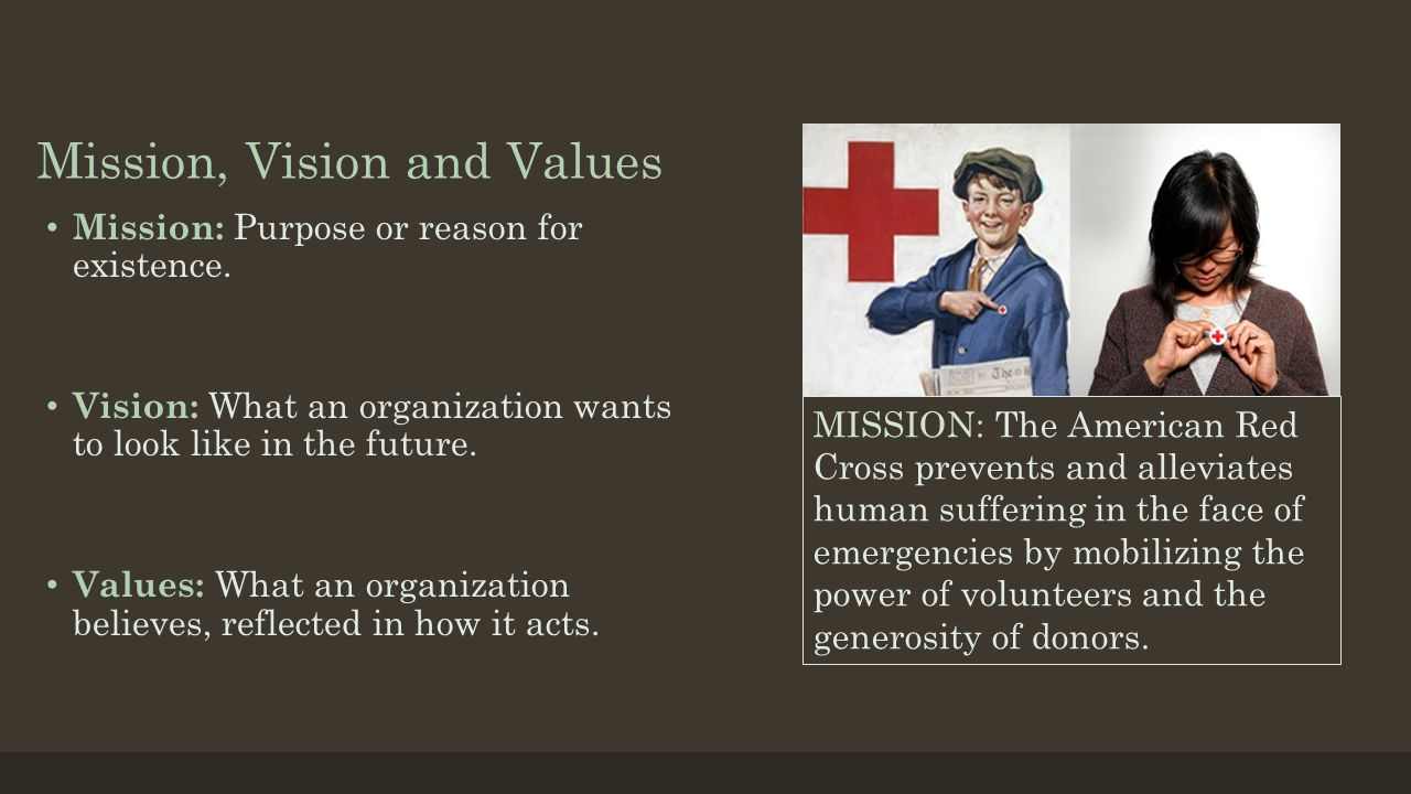 Mission, Vision and Values Mission: Purpose or reason for existence. Vision: What an organization wants to look like in the future. Values: What an or