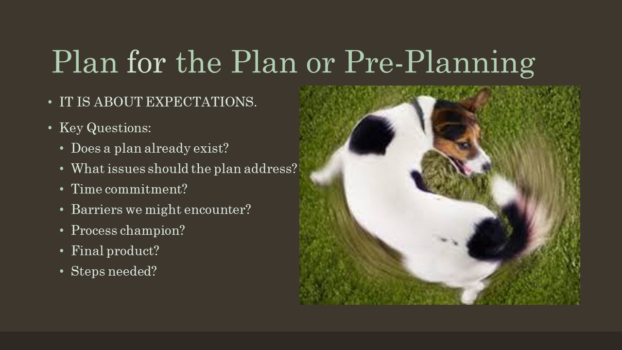 Plan for the Plan or Pre-Planning IT IS ABOUT EXPECTATIONS. Key Questions: Does a plan already exist? What issues should the plan address? Time commit