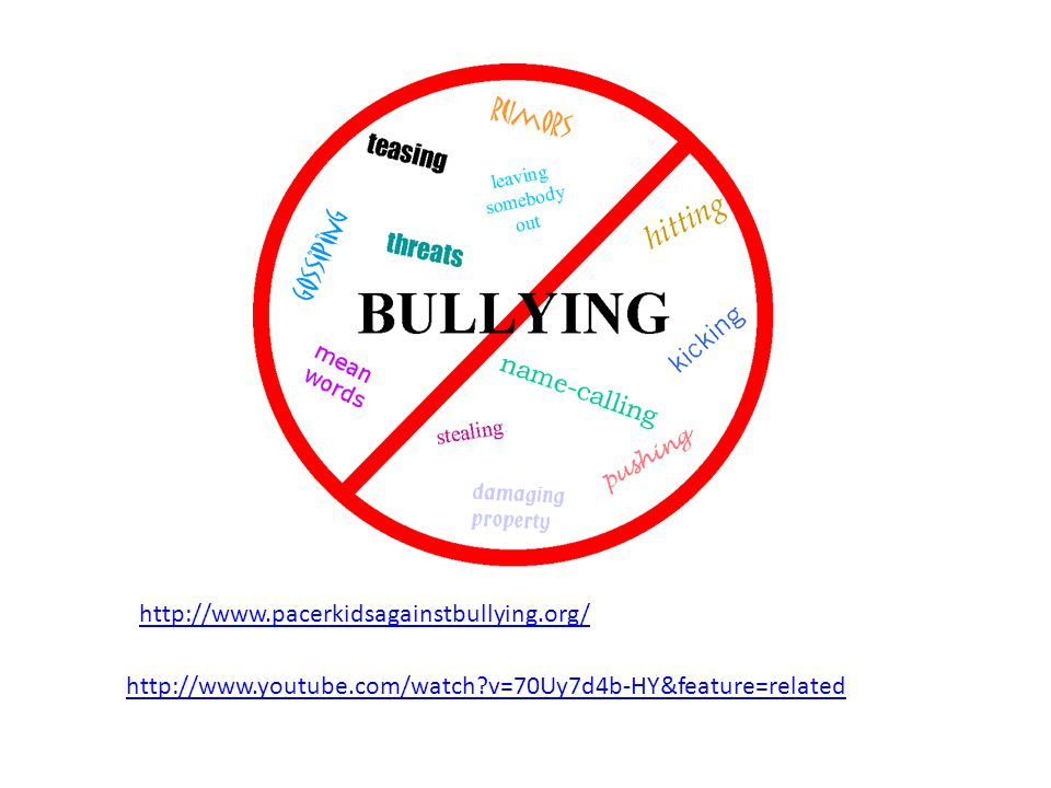 http://www.youtube.com/watch?v=70Uy7d4b-HY&feature=related http://www.pacerkidsagainstbullying.org/