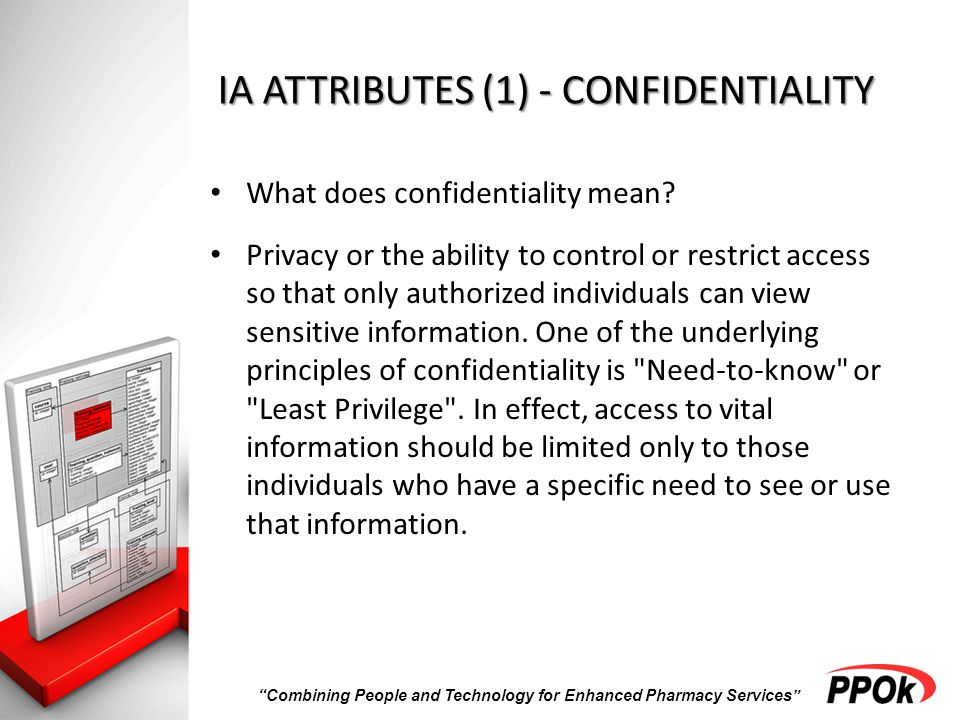 Combining People and Technology for Enhanced Pharmacy Services IA ATTRIBUTES (1) - CONFIDENTIALITY What does confidentiality mean.