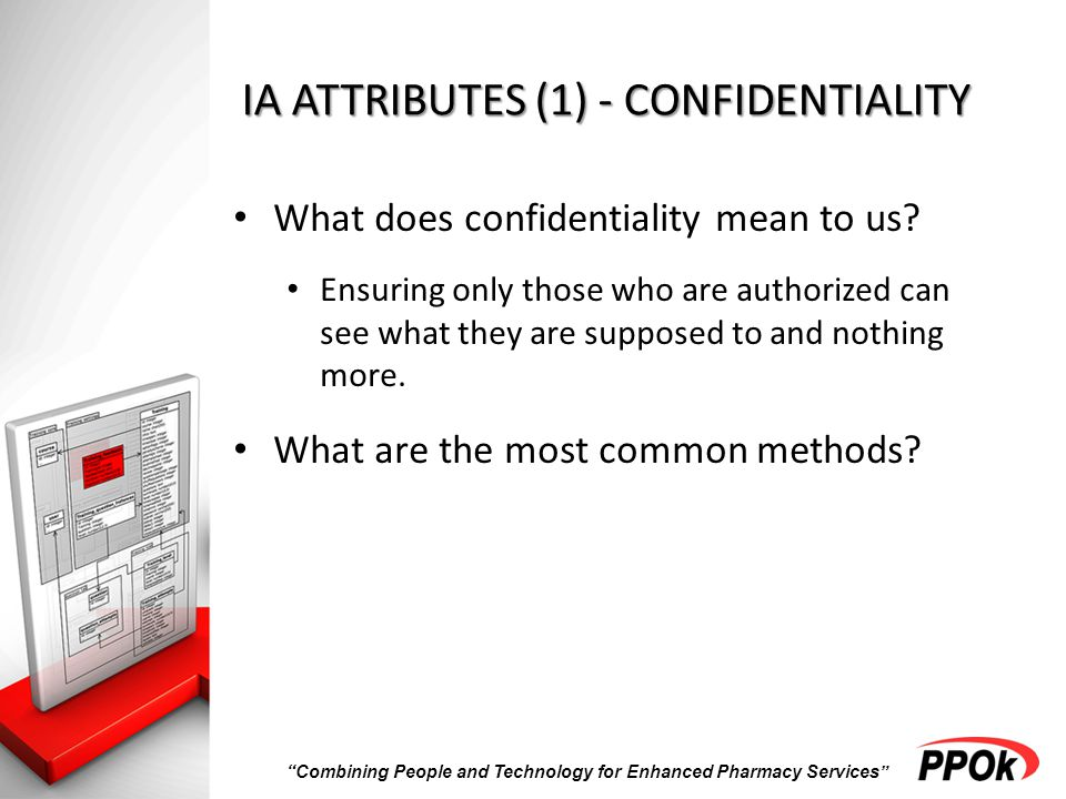 Combining People and Technology for Enhanced Pharmacy Services IA ATTRIBUTES (1) - CONFIDENTIALITY What does confidentiality mean to us.