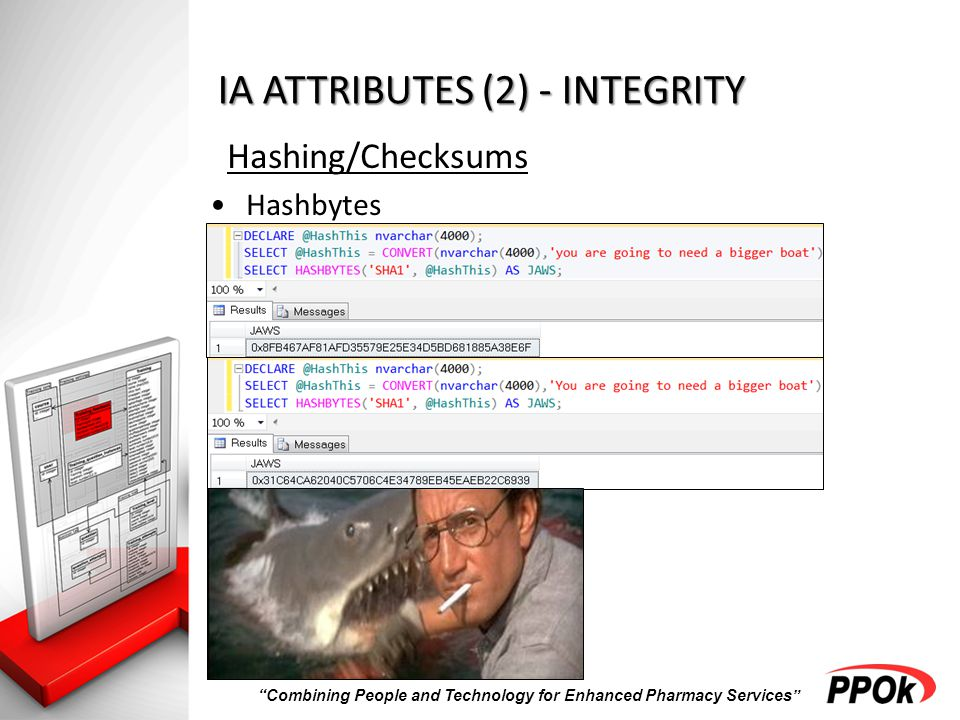 Combining People and Technology for Enhanced Pharmacy Services IA ATTRIBUTES (2) - INTEGRITY Hashing/Checksums Hashbytes