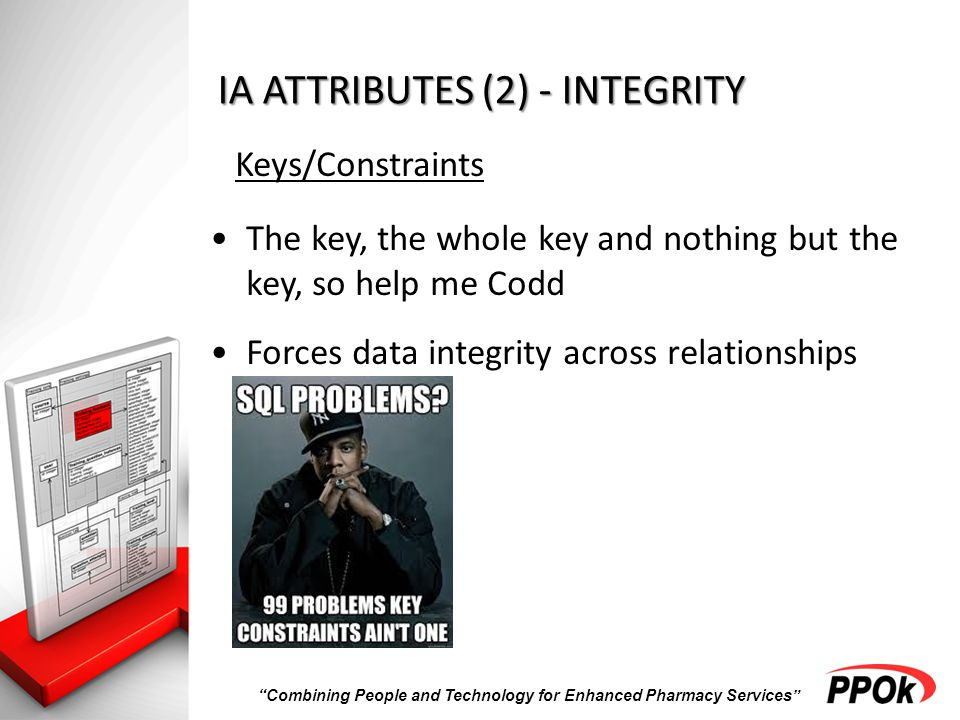 Combining People and Technology for Enhanced Pharmacy Services IA ATTRIBUTES (2) - INTEGRITY Keys/Constraints The key, the whole key and nothing but the key, so help me Codd Forces data integrity across relationships