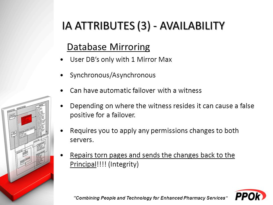 Combining People and Technology for Enhanced Pharmacy Services IA ATTRIBUTES (3) - AVAILABILITY Database Mirroring User DB's only with 1 Mirror Max Synchronous/Asynchronous Can have automatic failover with a witness Depending on where the witness resides it can cause a false positive for a failover.