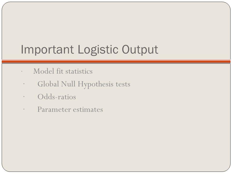 Important Logistic Output · Model fit statistics · Global Null Hypothesis tests · Odds-ratios · Parameter estimates