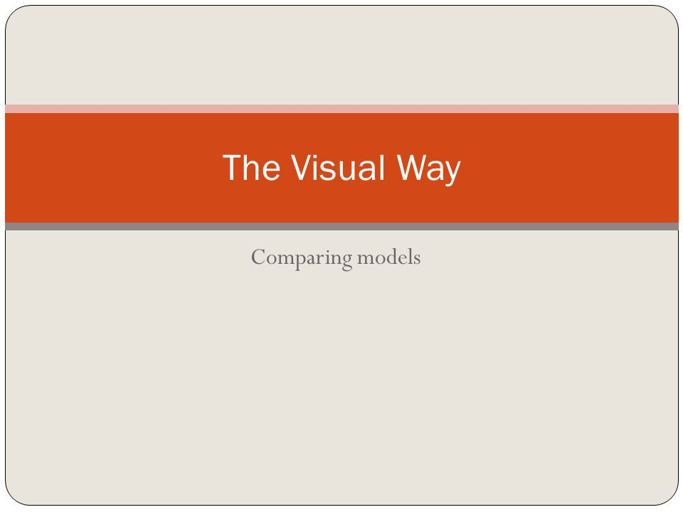 Comparing models The Visual Way