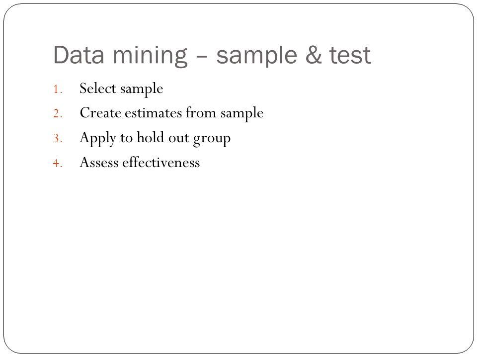Data mining – sample & test 1. Select sample 2. Create estimates from sample 3.