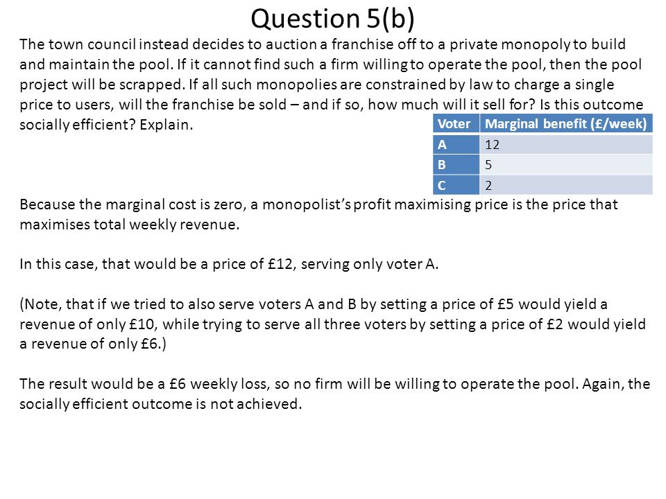 Question 5(b) The town council instead decides to auction a franchise off to a private monopoly to build and maintain the pool. If it cannot find such
