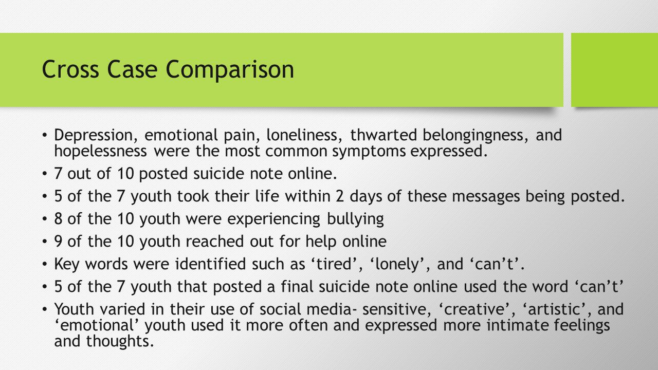 Cross Case Comparison Depression, emotional pain, loneliness, thwarted belongingness, and hopelessness were the most common symptoms expressed.