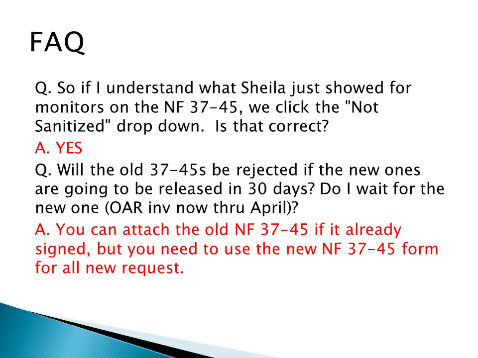 Q. So if I understand what Sheila just showed for monitors on the NF 37-45, we click the