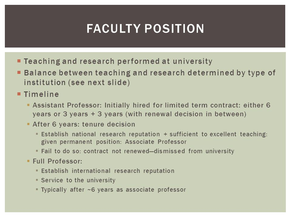  Teaching and research performed at university  Balance between teaching and research determined by type of institution (see next slide)  Timeline