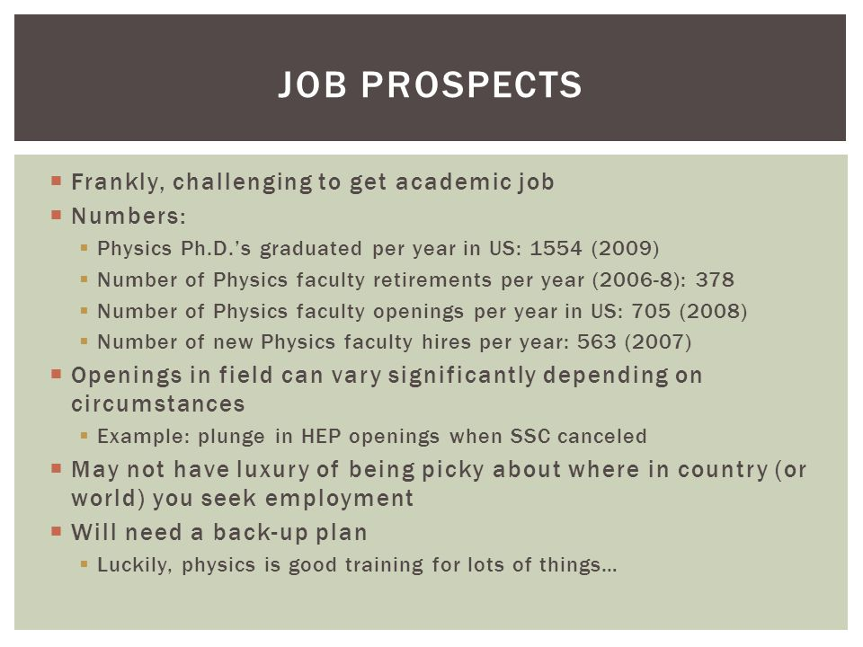  Frankly, challenging to get academic job  Numbers:  Physics Ph.D.'s graduated per year in US: 1554 (2009)  Number of Physics faculty retirements