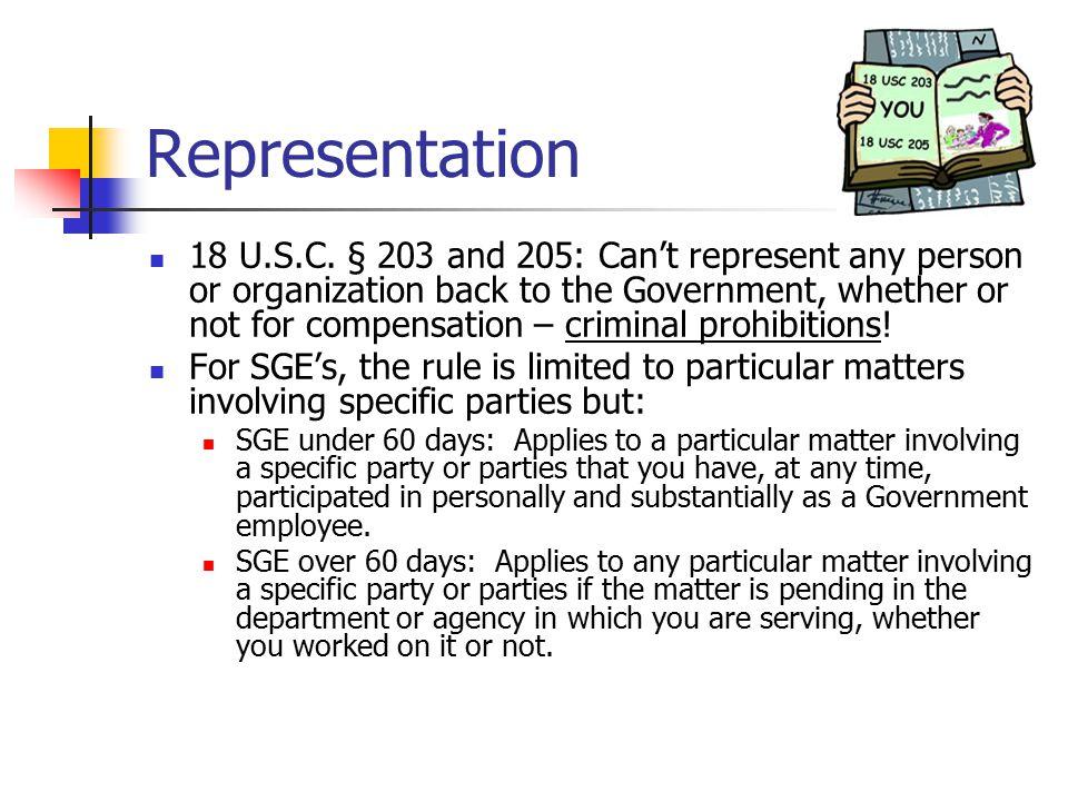 Representation 18 U.S.C.