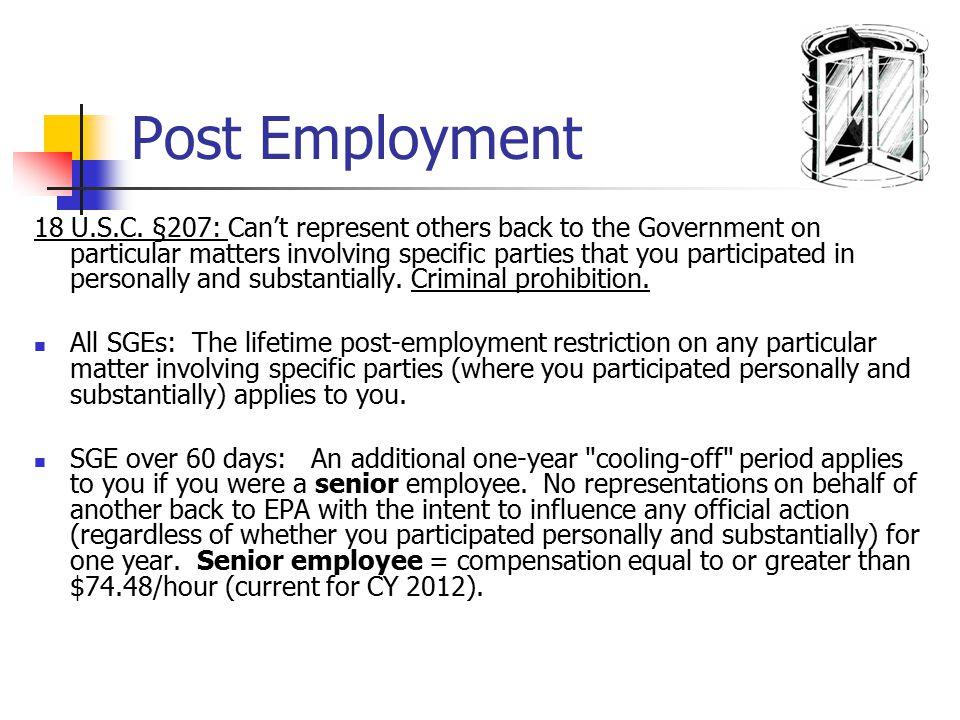 Post Employment 18 U.S.C.