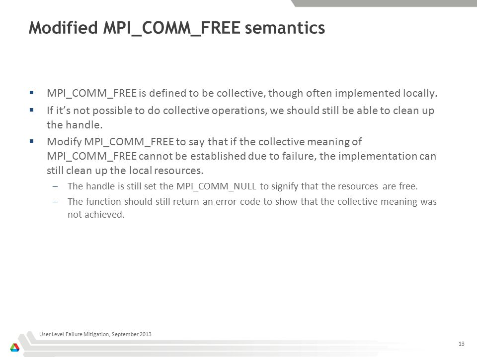 Modified MPI_COMM_FREE semantics  MPI_COMM_FREE is defined to be collective, though often implemented locally.