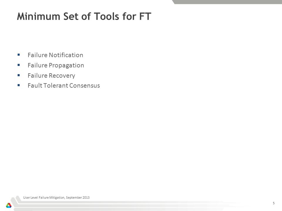 Minimum Set of Tools for FT  Failure Notification  Failure Propagation  Failure Recovery  Fault Tolerant Consensus User Level Failure Mitigation, September 2013 5