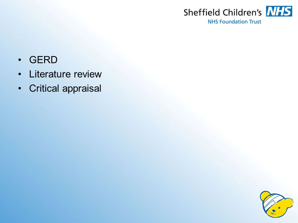 GERD Literature review Critical appraisal