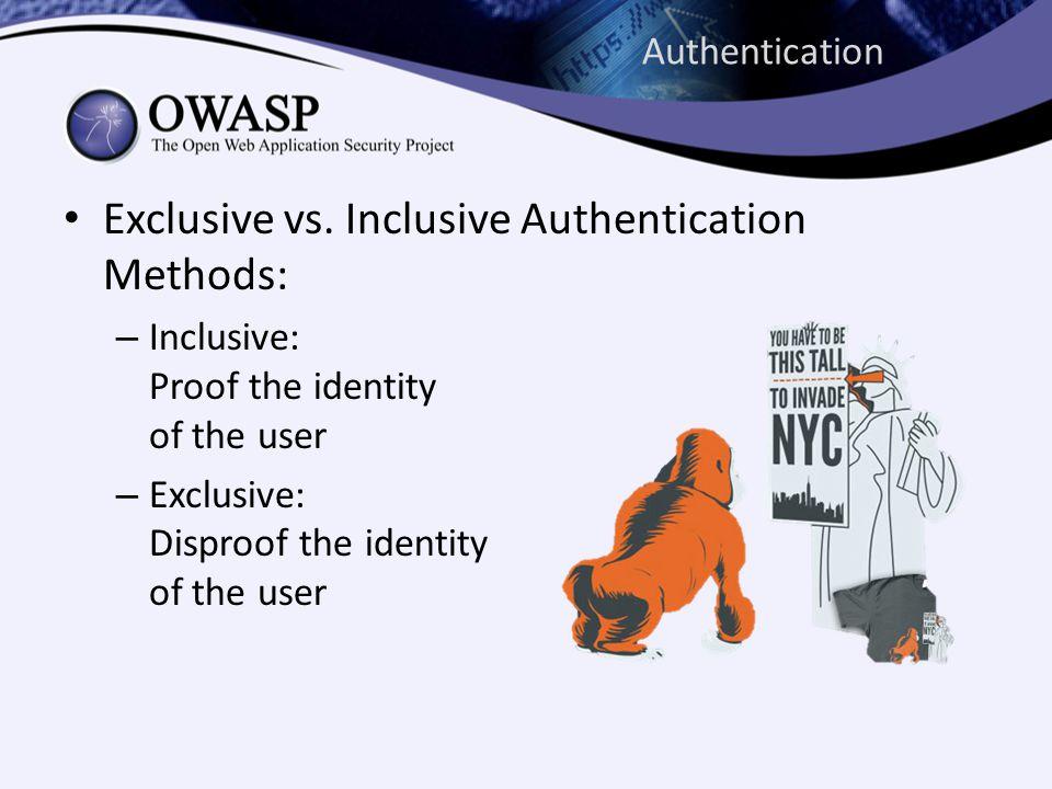 Authentication Exclusive vs.