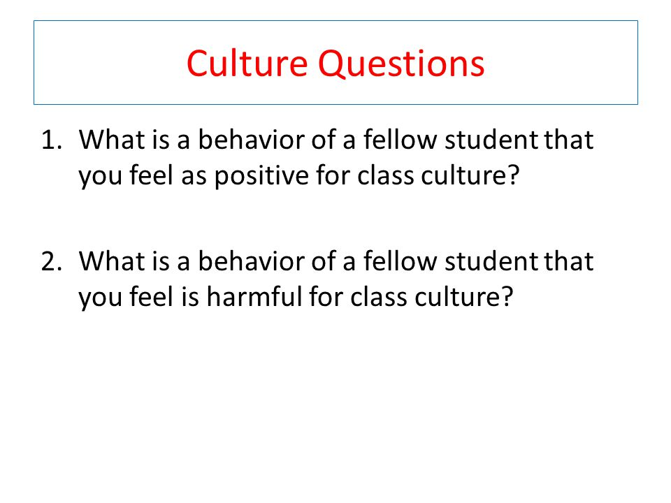 Culture Questions 1.What is a behavior of a fellow student that you feel as positive for class culture.