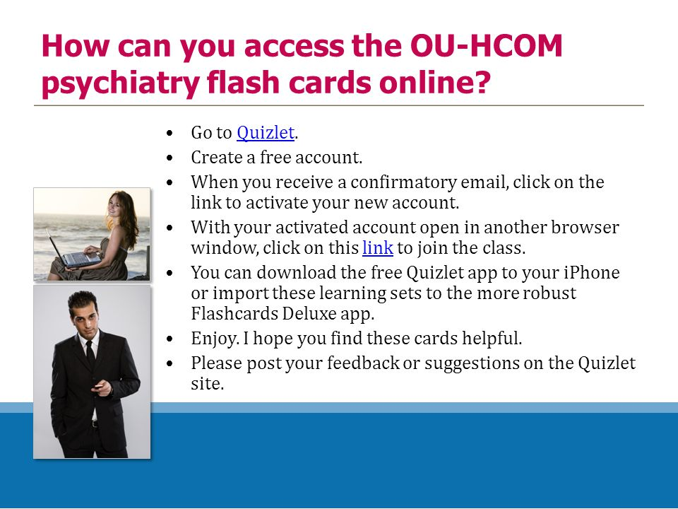 How can you access the OU-HCOM psychiatry flash cards online.