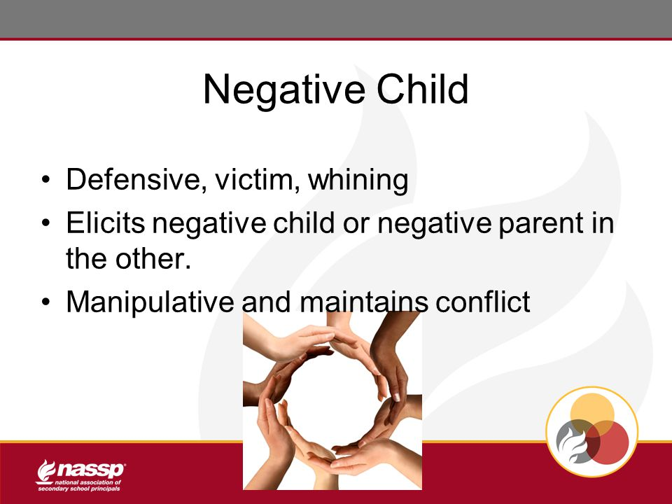 Negative Child Defensive, victim, whining Elicits negative child or negative parent in the other.