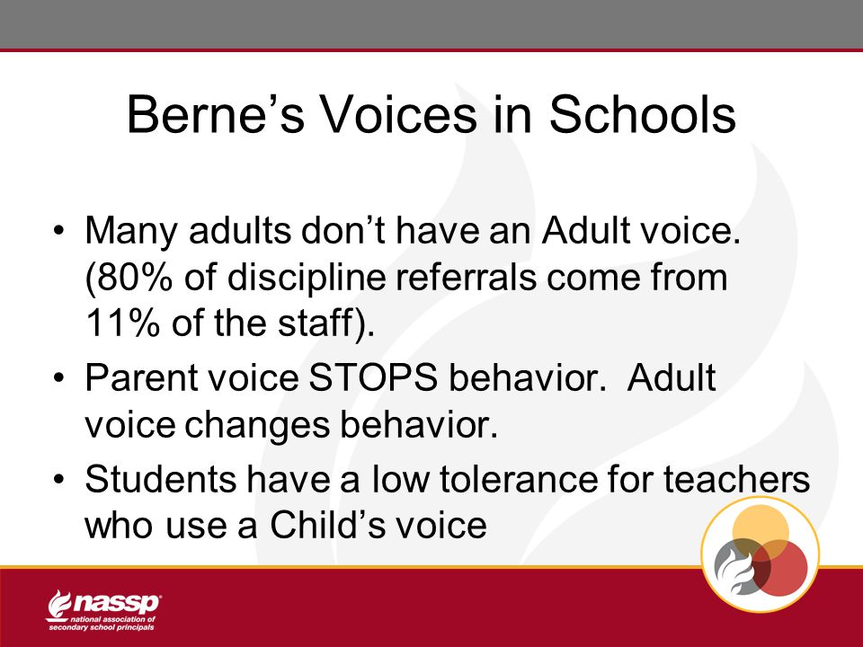 Berne's Voices in Schools Many adults don't have an Adult voice.