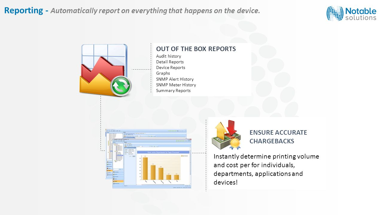 OUT OF THE BOX REPORTS Audit history Detail Reports Device Reports Graphs SNMP Alert History SNMP Meter History Summary Reports ENSURE ACCURATE CHARGEBACKS Instantly determine printing volume and cost per for individuals, departments, applications and devices.