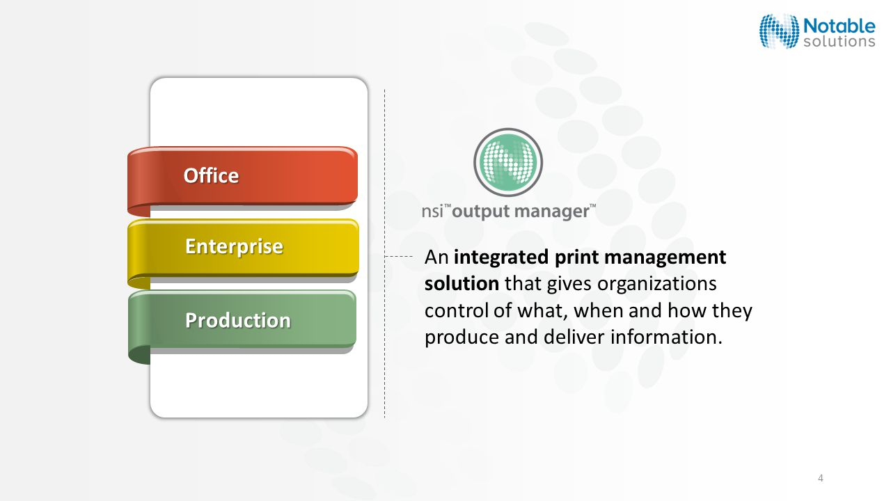4 An integrated print management solution that gives organizations control of what, when and how they produce and deliver information.