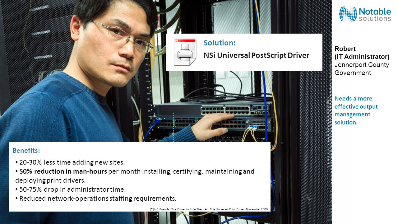 NSi Universal PostScript Driver Solution: 20-30% less time adding new sites.