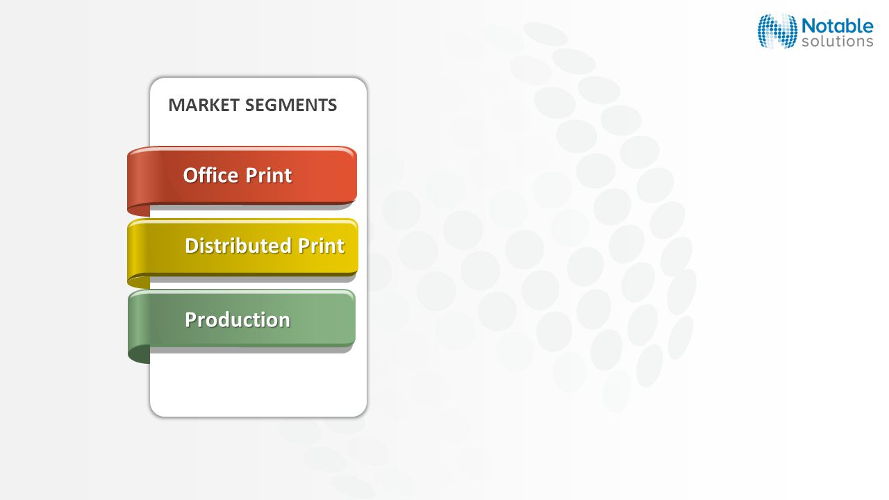 MARKET SEGMENTS Production Distributed Print Office Print
