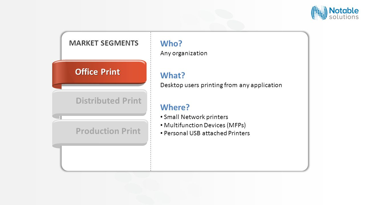 Production Print Who. Any organization What. Desktop users printing from any application Where.