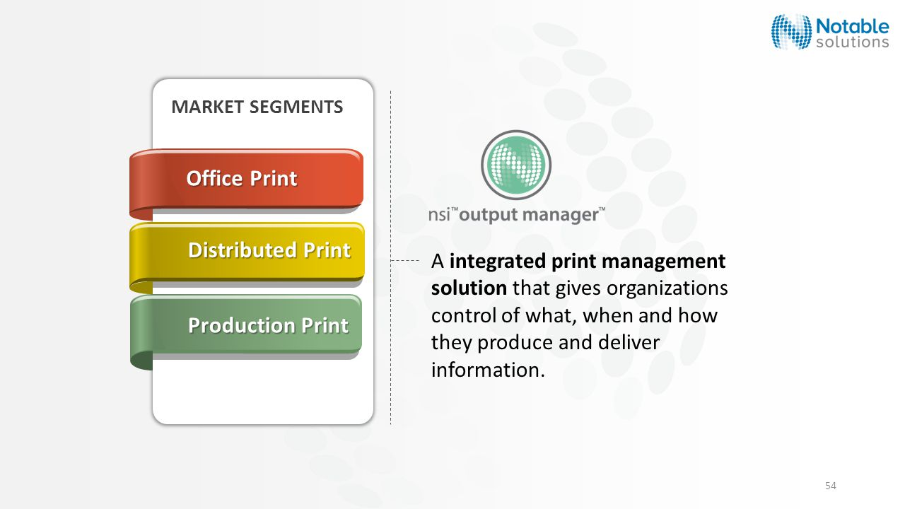 54 A integrated print management solution that gives organizations control of what, when and how they produce and deliver information.