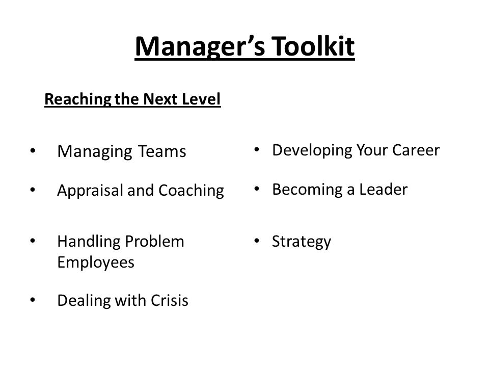 Manager's Toolkit Reaching the Next Level Managing Teams Appraisal and Coaching Handling Problem Employees Dealing with Crisis Developing Your Career