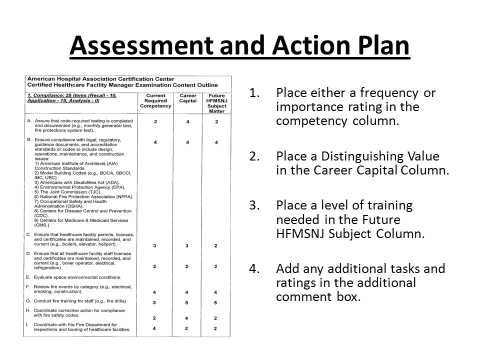 Assessment and Action Plan 1.Place either a frequency or importance rating in the competency column. 2.Place a Distinguishing Value in the Career Capi