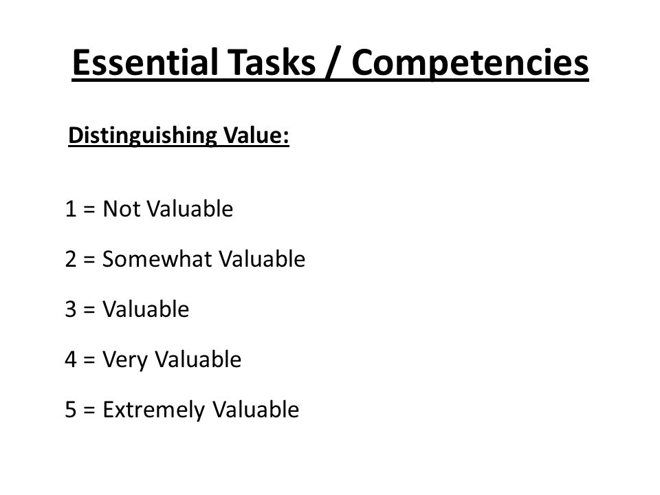 Essential Tasks / Competencies Distinguishing Value: 1 = Not Valuable 2 = Somewhat Valuable 3 = Valuable 4 = Very Valuable 5 = Extremely Valuable