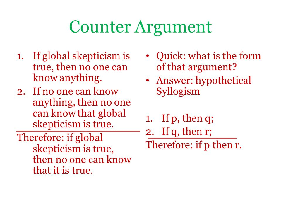 Counter Argument 1.If global skepticism is true, then no one can know anything.
