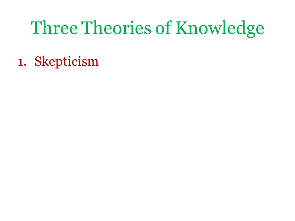 Three Theories of Knowledge 1.Skepticism This is the view that we cannot justify our beliefs