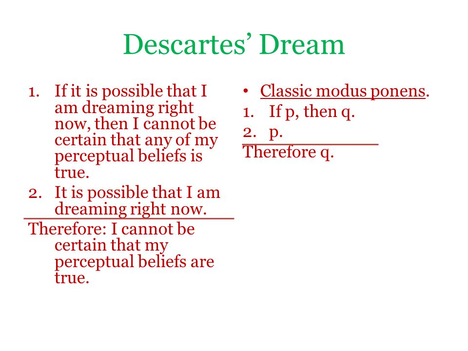 Descartes' Dream 1.If it is possible that I am dreaming right now, then I cannot be certain that any of my perceptual beliefs is true.