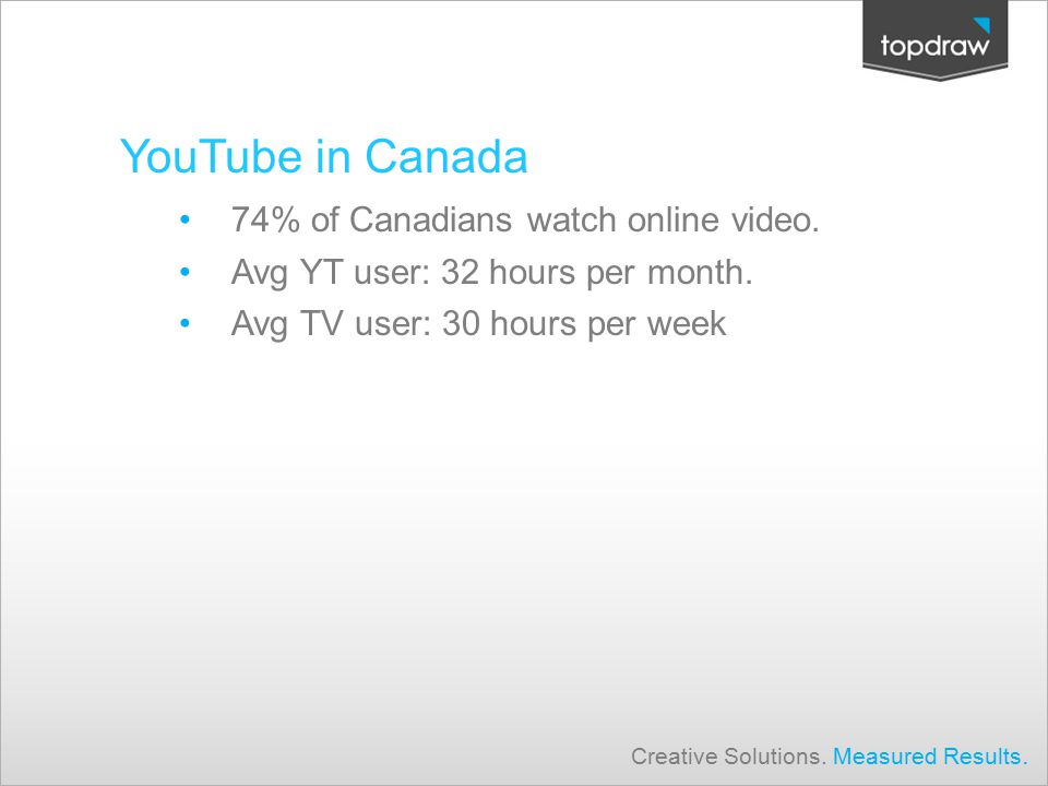 YouTube in Canada 74% of Canadians watch online video.