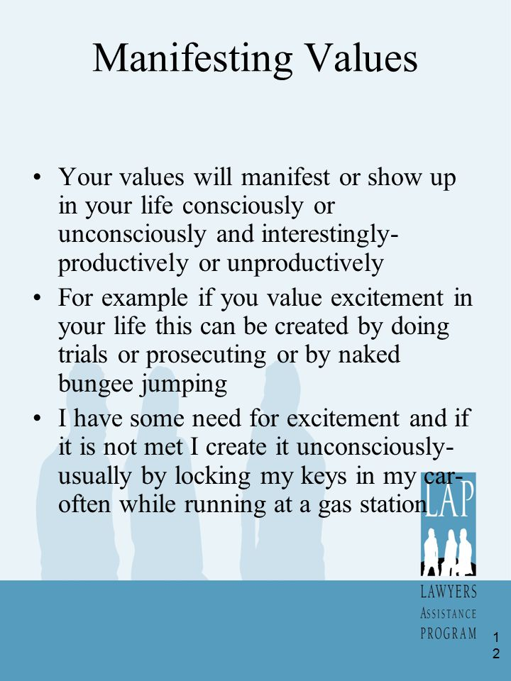 Manifesting Values Your values will manifest or show up in your life consciously or unconsciously and interestingly- productively or unproductively Fo
