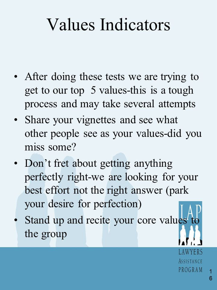 Values Indicators After doing these tests we are trying to get to our top 5 values-this is a tough process and may take several attempts Share your vi