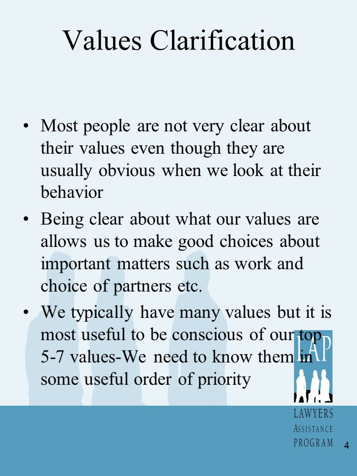 Values Clarification Most people are not very clear about their values even though they are usually obvious when we look at their behavior Being clear
