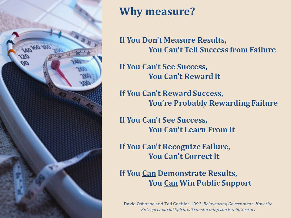 Why measure. David Osborne and Ted Gaebler. 1992.