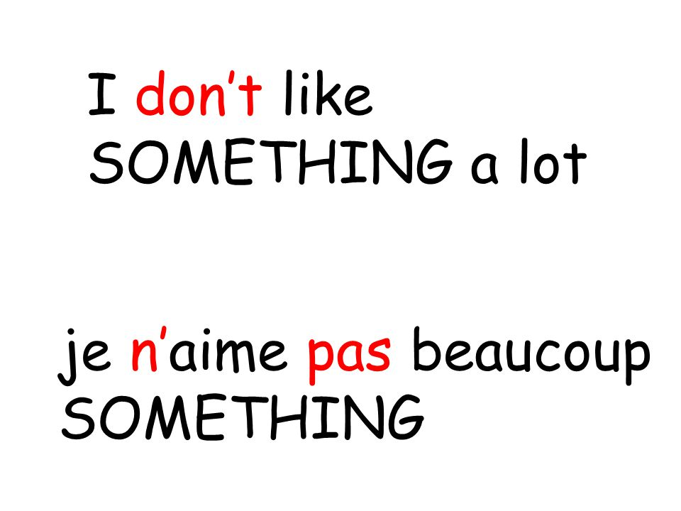 je n'aime pas beaucoup SOMETHING I don't like SOMETHING a lot