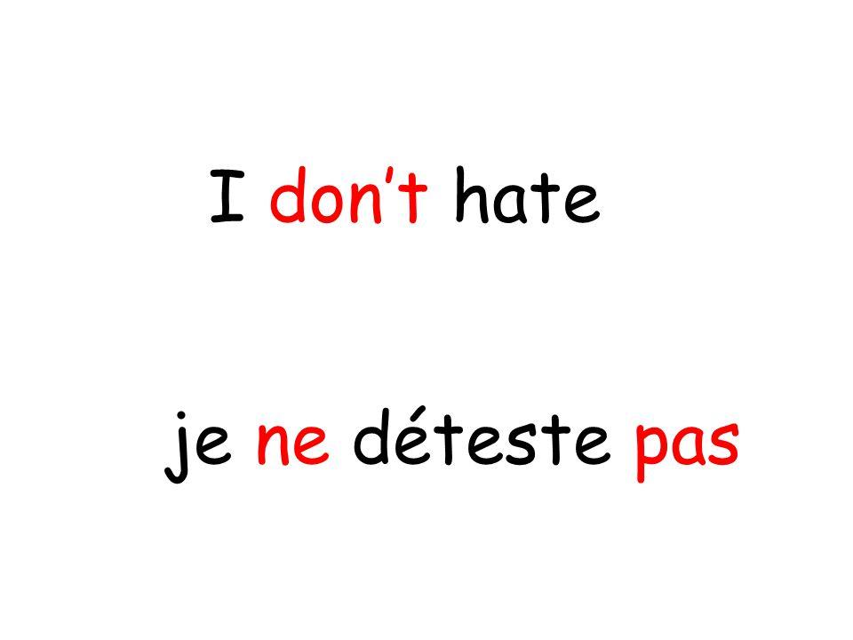 je ne déteste pas I don't hate