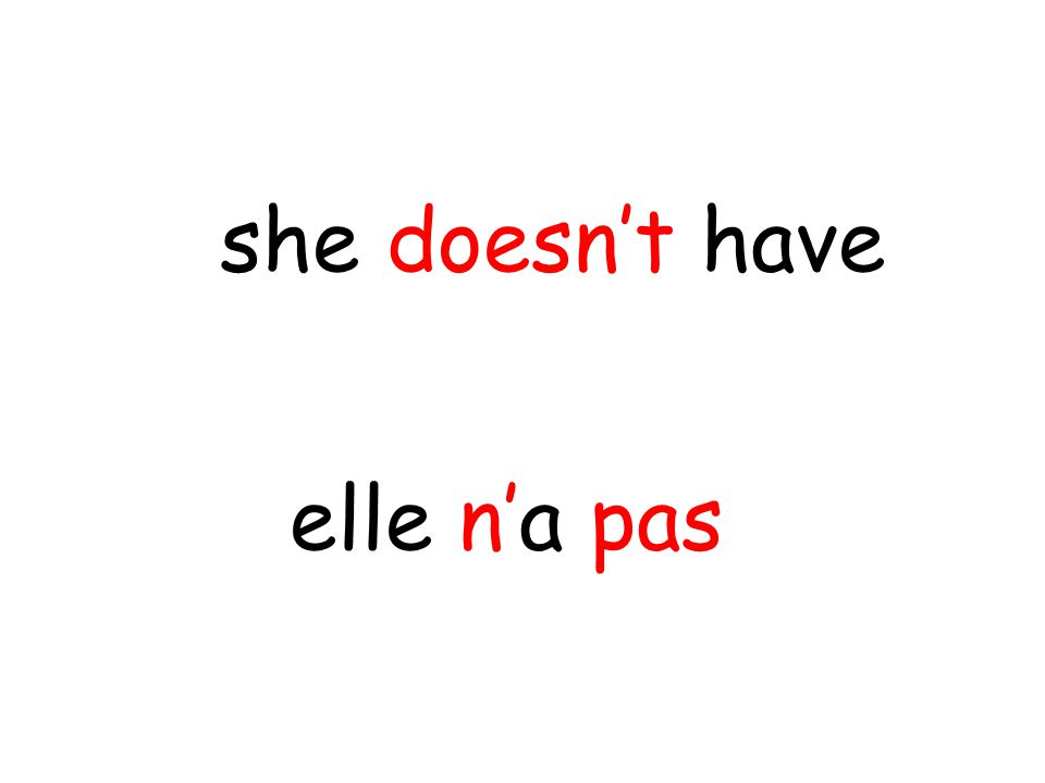 elle n'a pas she doesn't have