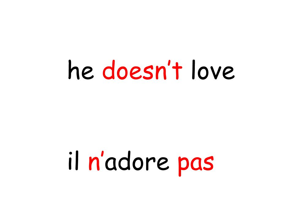 il n'adore pas he doesn't love