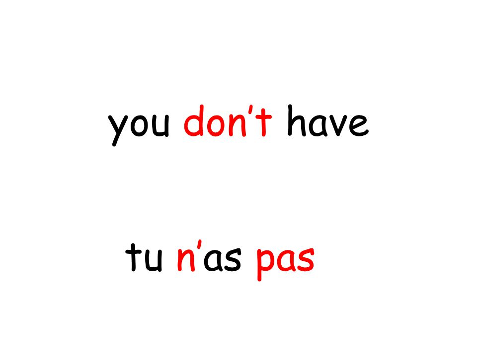 tu n'as pas you don't have