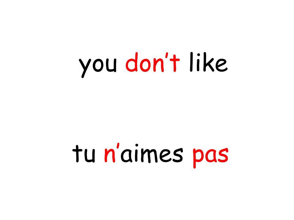 tu n'aimes pas you don't like