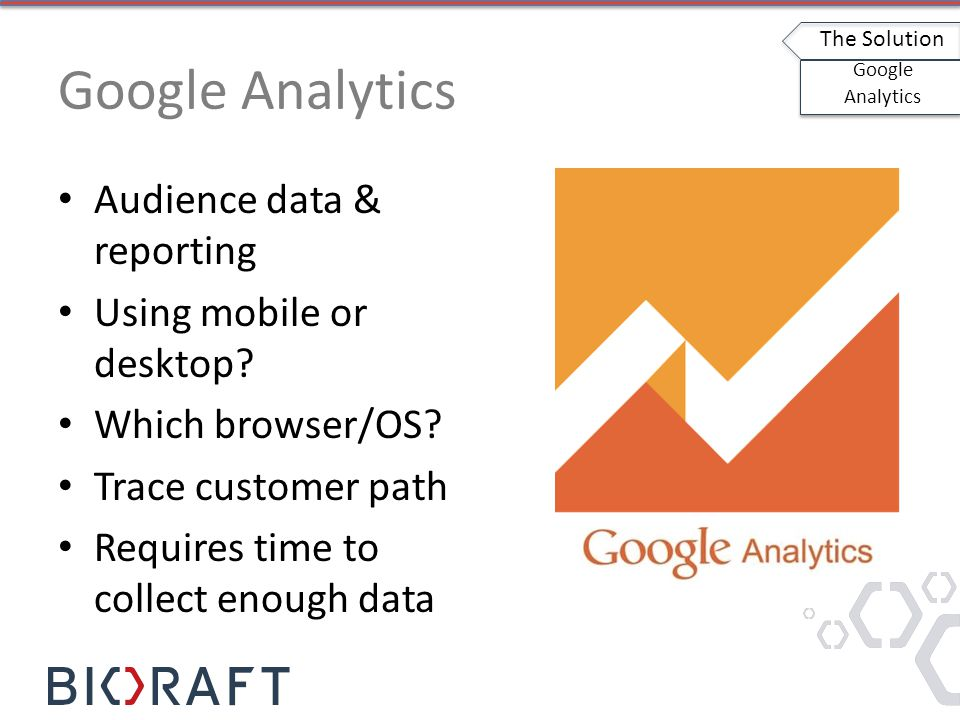 Google Analytics Audience data & reporting Using mobile or desktop.